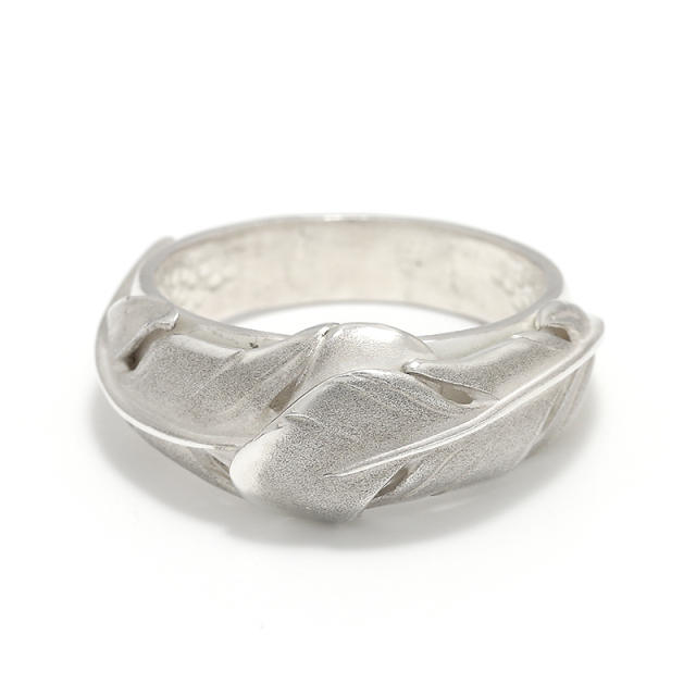Old Feather Ring - All Silver