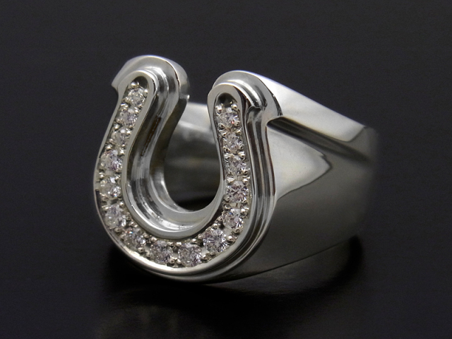 Combination Horseshoe Ring - Silver w/CZ