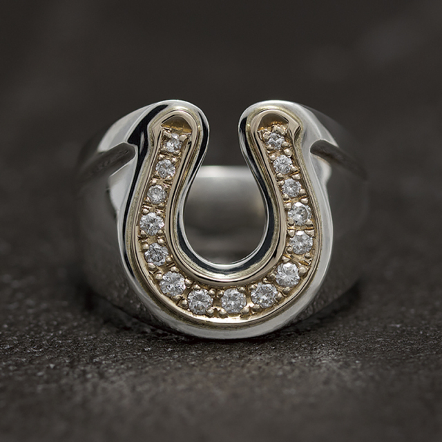Combination Horseshoe Ring - Silver×K10Yellow Gold w/Diamond