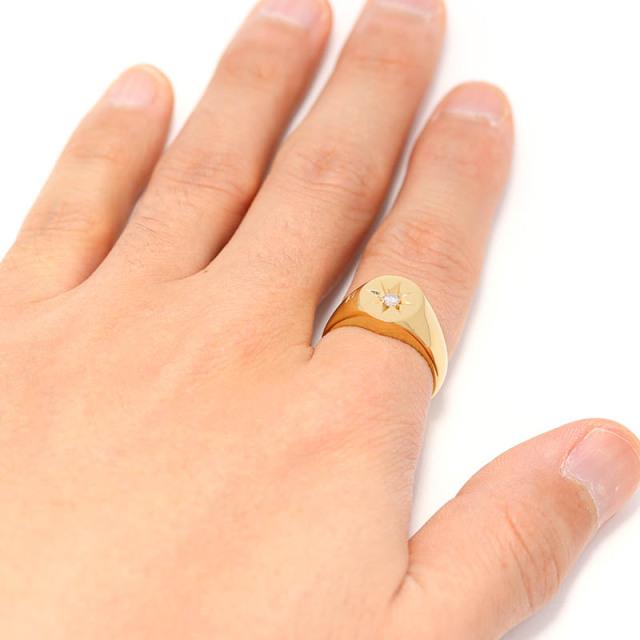 Oval Signature Ring - K18Yellow Gold w/Diamond