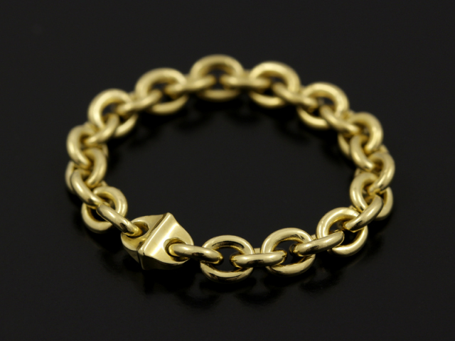 Oval Chain Ring Narrow - K18Yellow Gold