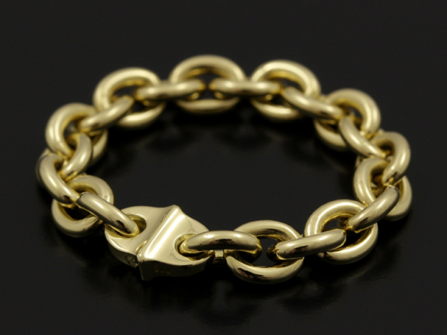 Oval Chain Ring Wide - K18Yellow Gold