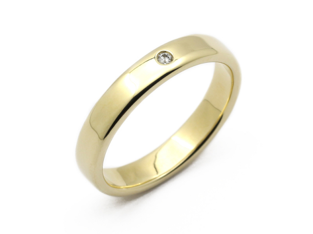 Wide Posy Ring - K10 Yellow Gold w/Diamond