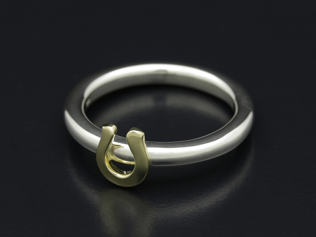 Mini Horseshoe Charm Ring - Silver × K18Yellow Gold