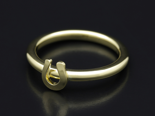 Mini Horseshoe Charm Ring - K18Yellow Gold