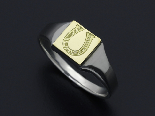 Signet Ring - Square - Silver×K18 Yellow Gold w/Stamp
