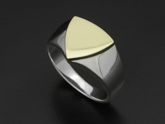 Signet Ring - Triangle - Silver×K18 Yellow Gold
