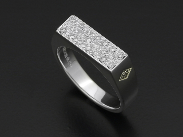 Signet Ring - Rectangle - Silver w/Diamond
