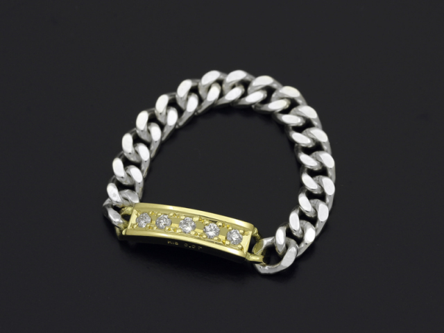 ID Chain Ring - Silver×K18Yellow Gold w/Diamond