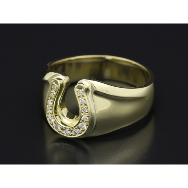 Horseshoe Amulet Combination Ring - K18Yellow Gold w/Diamond