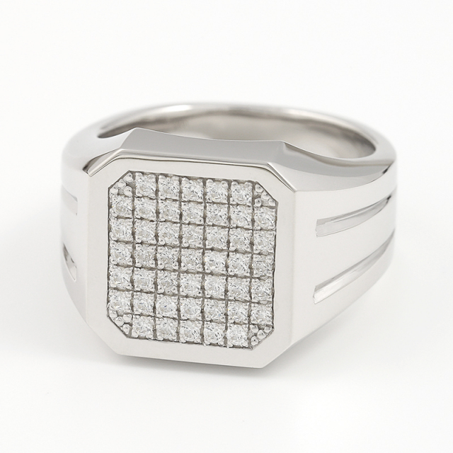 Large Signet Ring - Silver w/CZ