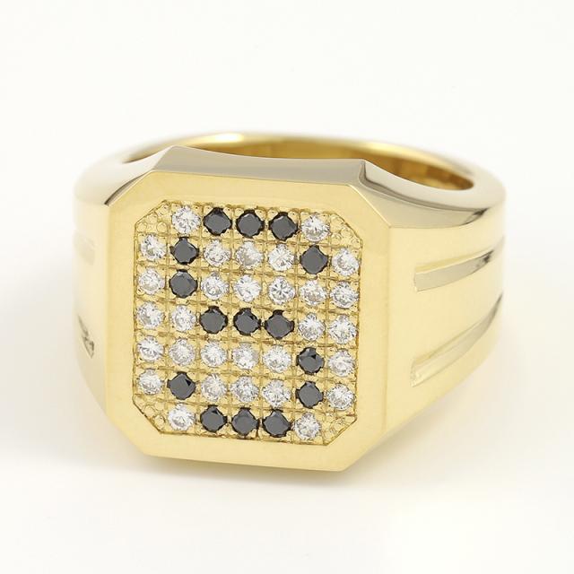 Large Signet Ring - K18Yellow Gold w/Diamond&Black Diamond