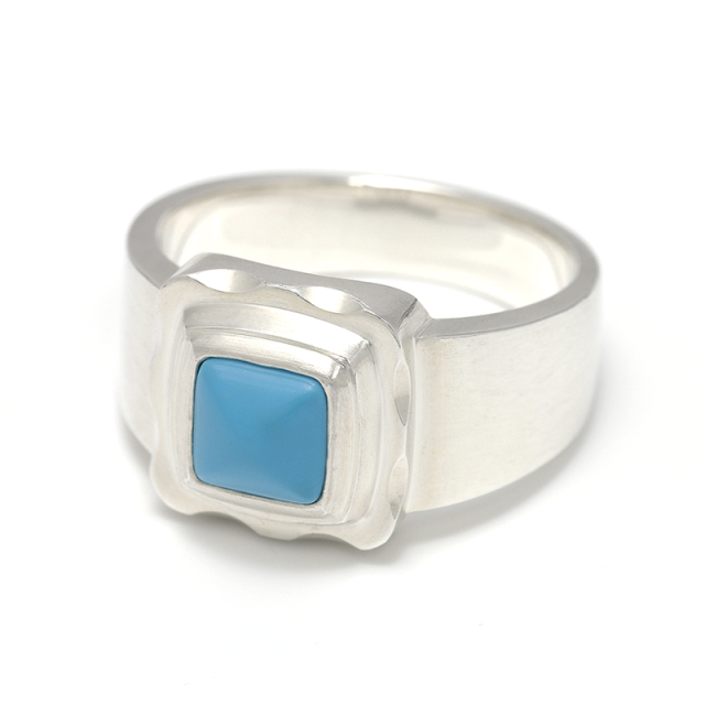 Pyramid Ring - Silver w/Turquoise