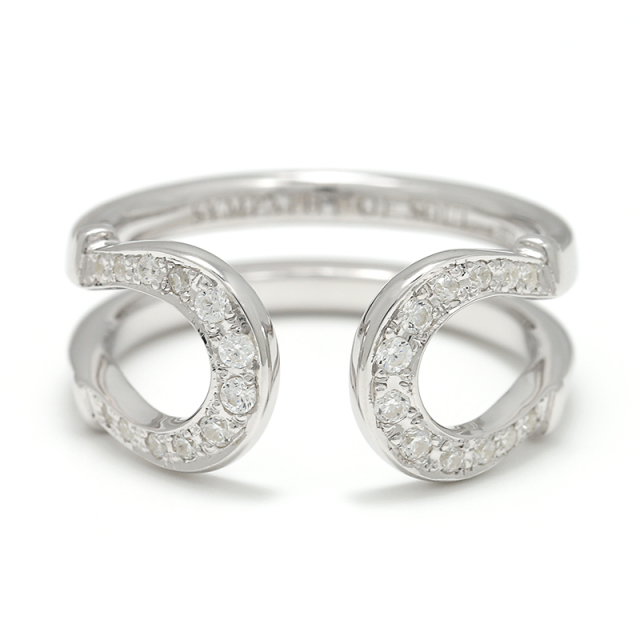 Double Horseshoe Ring - Silver w/CZ