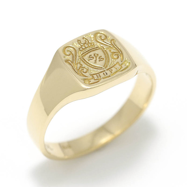 Small Signature Ring - K10Yellow Gold