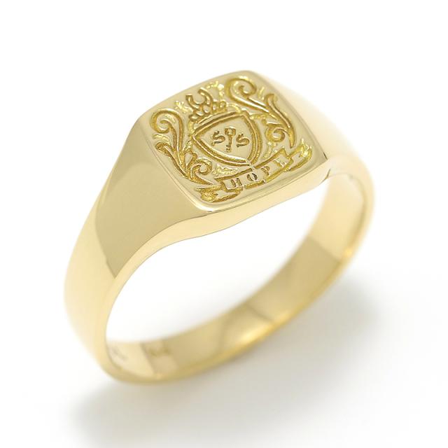 Small Signature Ring - K18Yellow Gold