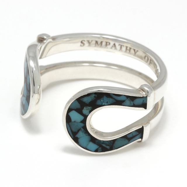Double Horseshoe Inlay Ring - Silver