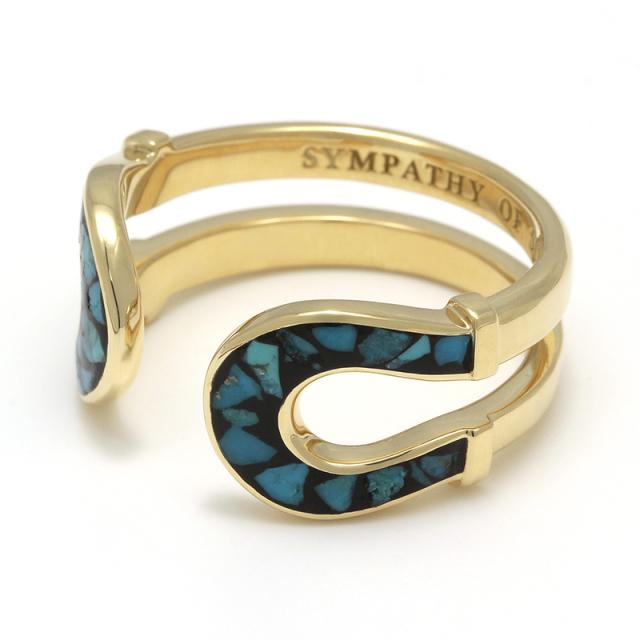 Double Horseshoe Inlay Ring - K18Yellow Gold