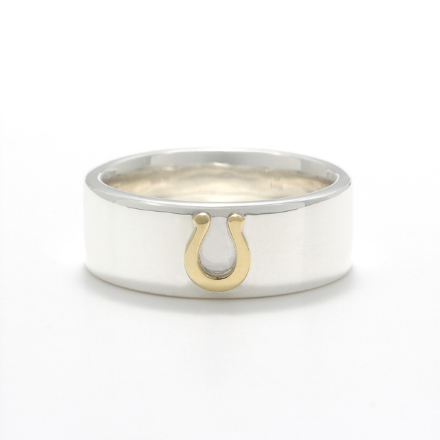 Horseshoe Charm Ring Wide - Silver×K18Yellow Gold