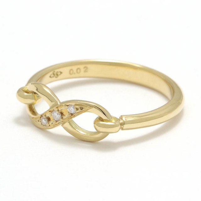 Infinity Band Ring - K18Yellow Gold w/Diamond