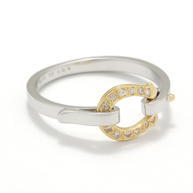 Horseshoe Band Ring Small - Silver×K18Yellow Gold w/Diamond