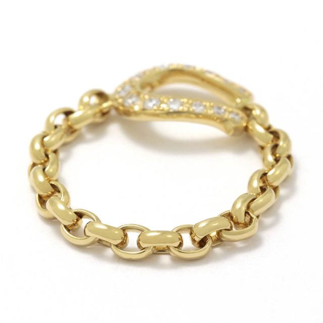 Horseshoe Chain Ring - K18Yellow Gold w/Diamond