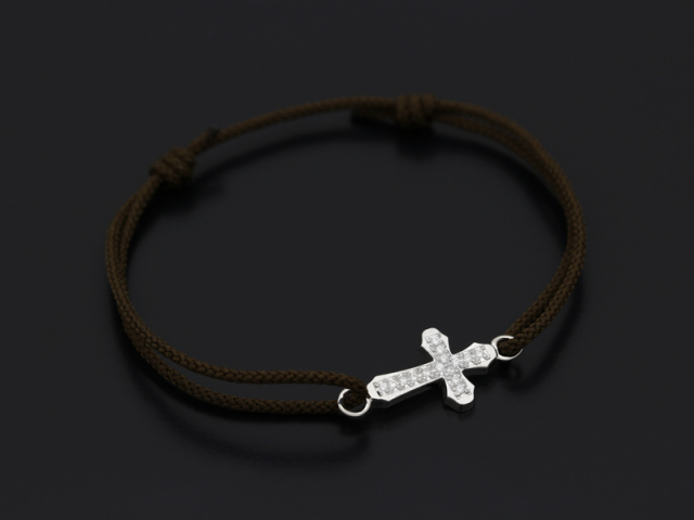 Smooth Cross Medium Cord Bracelet - Silver w/CZ