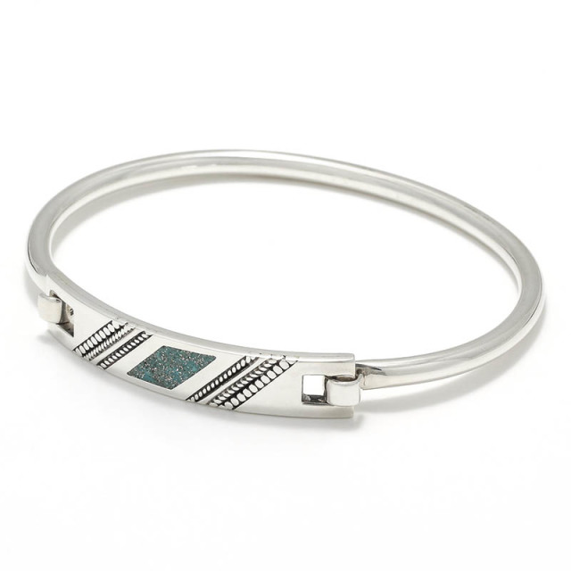 Turquoise Powder Inlay Hinge Bangle