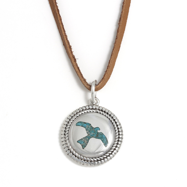 Twisted Wire Eagle Inlay Disc Leather Necklace