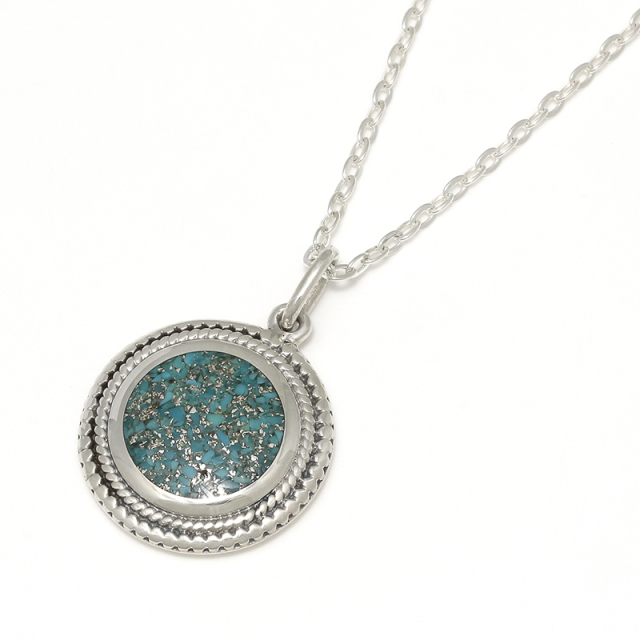 Turquoise Powder Disc Necklace