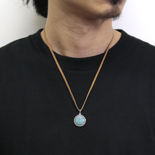 Turquoise Powder Disc Leather Necklace