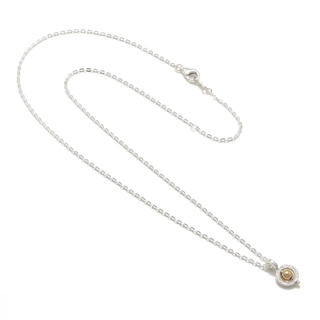 Tiny Bramanda Necklace Silver w/18K Bead