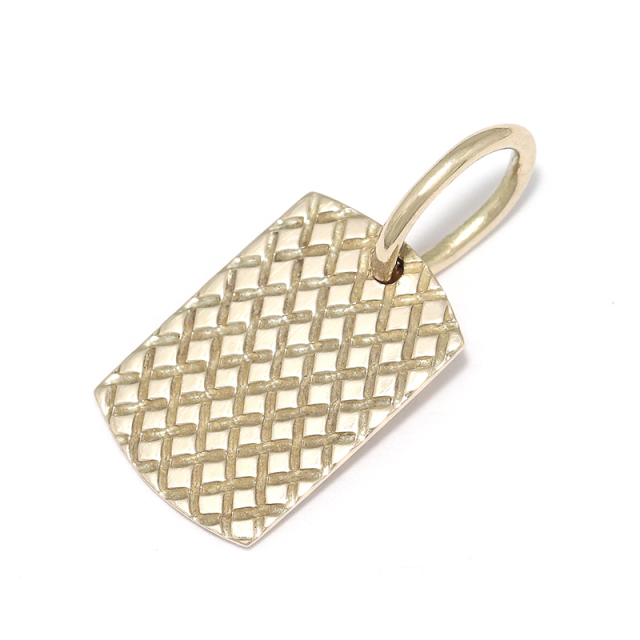 Small Snake Pattern Dog Tag - K10Yellow Gold