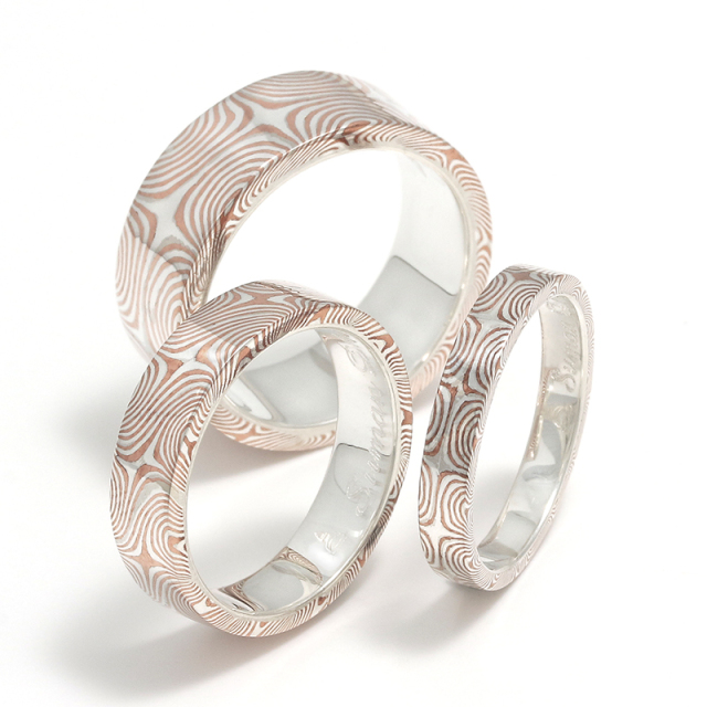 Star Pattern MOKUME Flat Band Ring