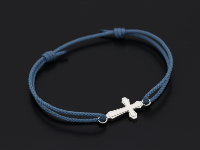Smooth Cross Medium Cord Bracelet - Silver