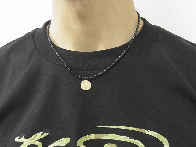 Black Spinel Necklace w/Hope Sun Coin - K10Yellow Gold