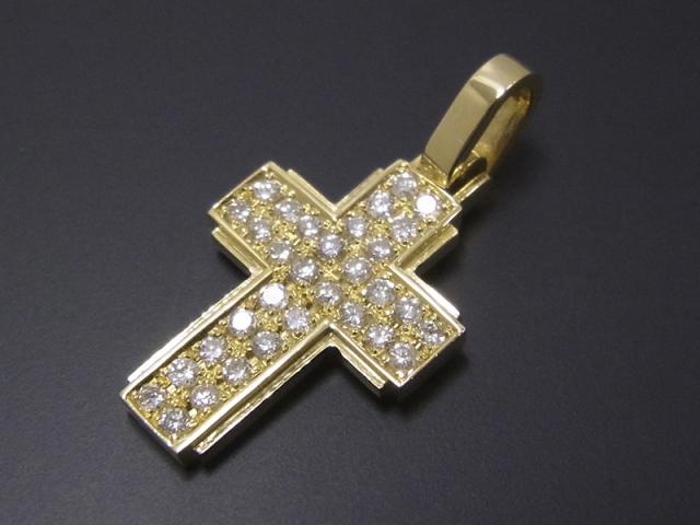 Dazzle Cross Pendant - L K18Yellow Gold w/Diamond