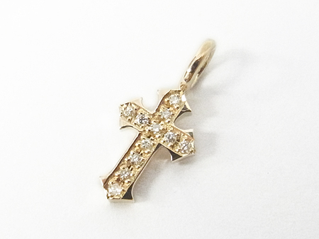 Little Cross Charm K10 w/Diamond