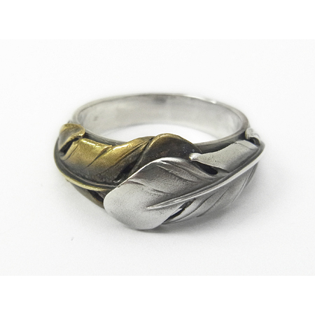 Old Feather Ring - Silver×Brass