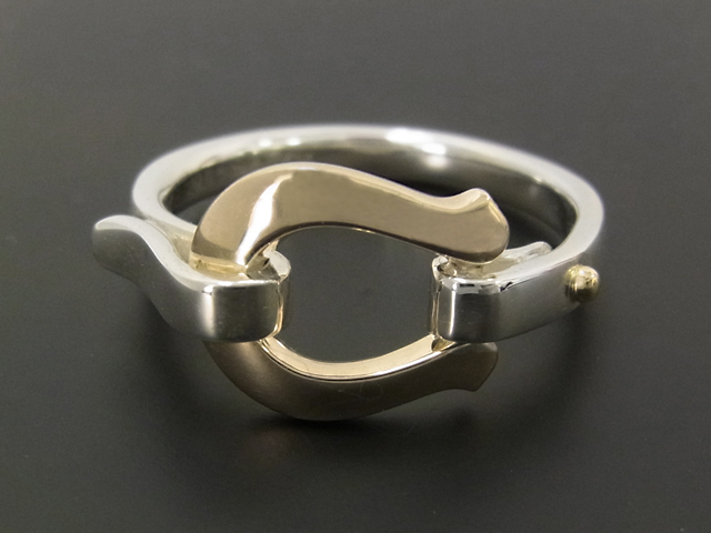 Horseshoe Band Ring - Silver×K10Yellow Gold