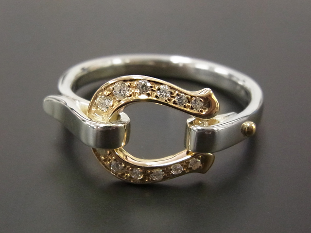 Horseshoe Band Ring - Silver×K18YG w/Diamond