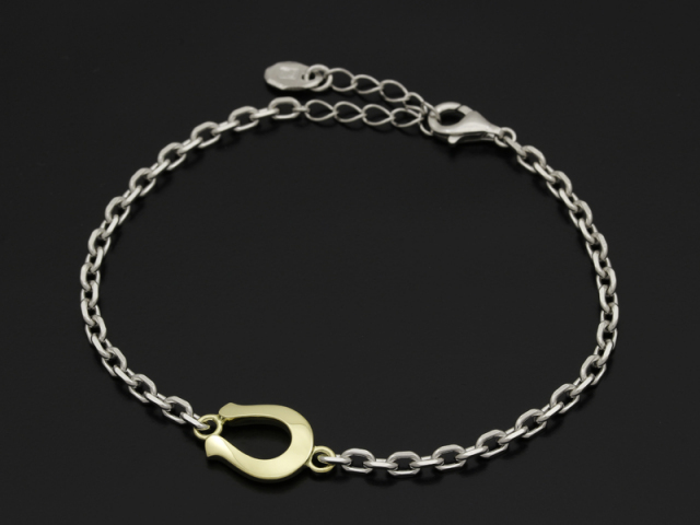 WEB限定 Horseshoe Amulet Chain Bracelet - Silver × K18Yellow Gold