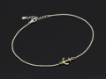 Small Anchor Chain Anklet - Silver × K18 Yellow Gold