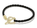 Horseshoe Leather T-Bar Bracelet - K18Yellow Gold w/Diamond