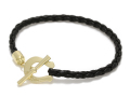 Horseshoe Leather T-Bar Bracelet - K18Yellow Gold