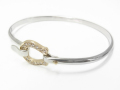 Horseshoe Combination Bangle - Silver × K10Yellow Gold w/Diamond