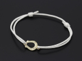 Horseshoe Amulet Cord Bracelet - K10 Yellow Gold w/Diamond