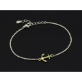 Small Anchor Chain Bracelet - Silver × K18 Yellow Gold