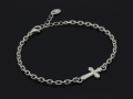 Smooth Cross Chain Bracelet - Silver