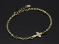 Smooth Cross Chain Bracelet - K18Yellow Gold w/Diamond
